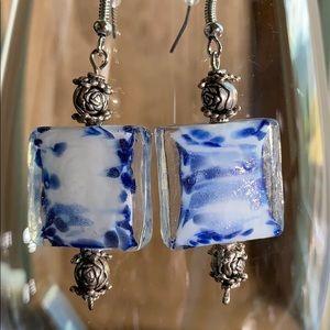 Jewelry - 💥Super cute! Blue/white glass bead earrings💥